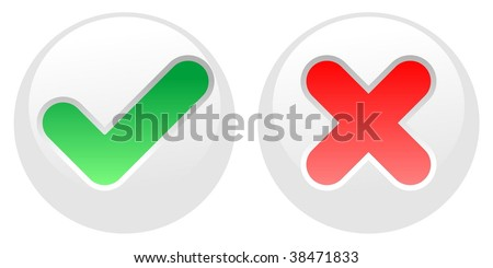 confirm and decline white buttons - stock vector