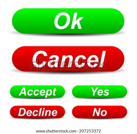 Confirmation buttons (Ok, cancel - Accept, decline - Yes, no) - stock vector