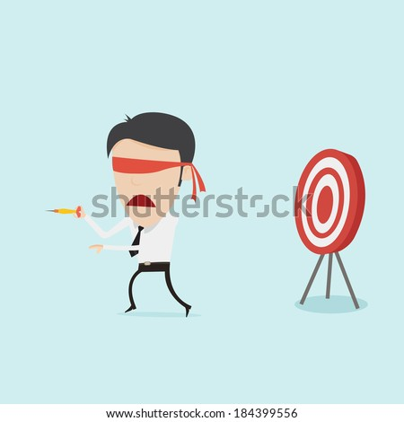Confused blindfold businessman try to hit a target with dart  - stock vector