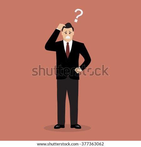 Confused businessman. Business Concept Vector illustration - stock vector