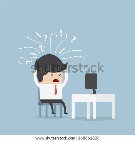 Confused businessman in front of computer, VECTOR, EPS10 - stock vector