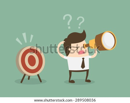 Confused businessman look for target in wrong direction.Flat design business concept cartoon illustration. - stock vector