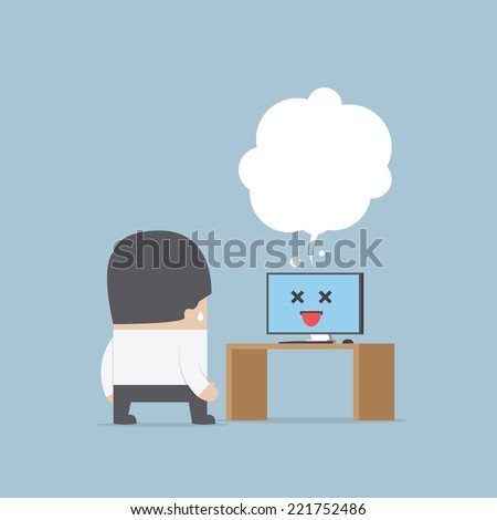 Confused businessman with the error computer, VECTOR, EPS10 - stock vector