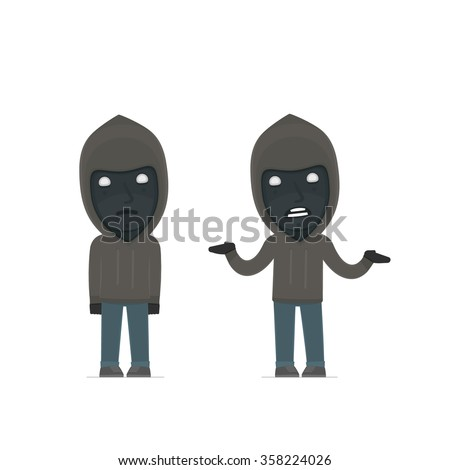 Confused  Character Anonymous Hackers embarrassment and does not know what to do. for use in presentations, etc. - stock vector