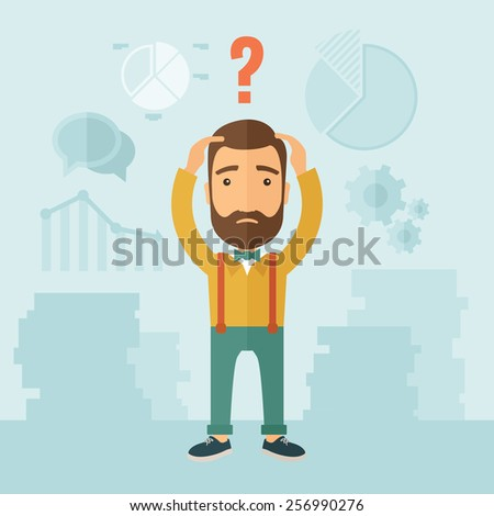 Confused Man. - stock vector