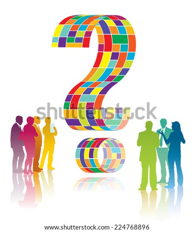 Confused people are standing next to a large question mark - stock vector