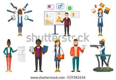 Confused woman and many hands with gadgets around her. Young woman surrounded with gadgets. Woman using many electronic gadgets. Set of vector flat design illustrations isolated on white background.
