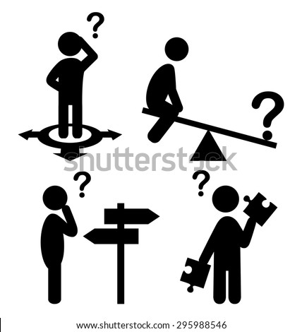 Confusion People with Question Marks Flat Icons Pictogram Isolated on White Background - stock vector