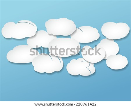 congestion white volume clouds over blue - stock vector