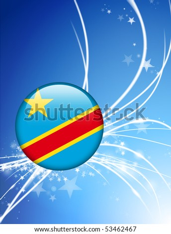 Congo Flag Button on Abstract Light Background Original Illustration