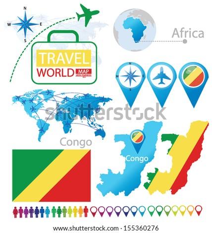 Congo. flag. World Map. Travel vector Illustration. - stock vector