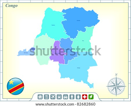 Congo Map with Flag Buttons and Assistance & Activates Icons Original Illustration - stock vector