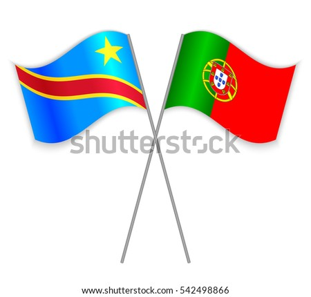 Congolese and Portuguese crossed flags. Democratic Republic of the Congo combined with Portugal isolated on white. Language learning, international business or travel concept.