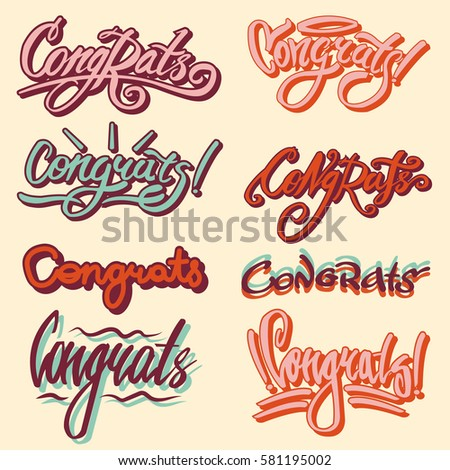 Congrats And Drawn Text Templates. Congratulation Vector Writing Lettering  Of Festive Font For Greeting Card  Congratulation Templates