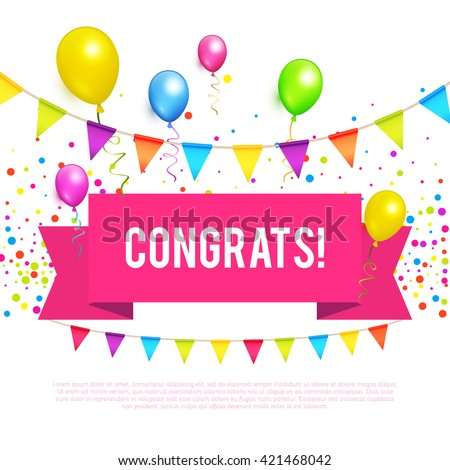 Congratulations banner stock images royalty free images vectors congratulations banner with balloons win birthday party sale holiday pronofoot35fo Images