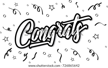 congrats hand written lettering for congratulations card greeting card invitation and print