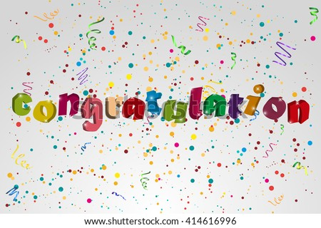 Congratulation  banner with confetti an ribbons. Vector illustration - stock vector