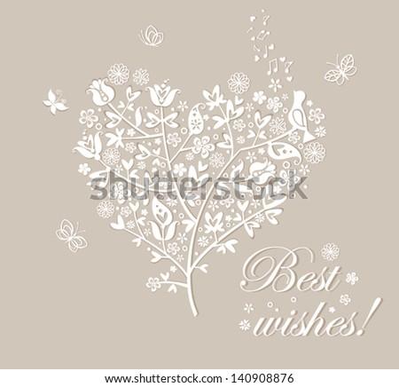 Congratulation card with beautiful tree - stock vector