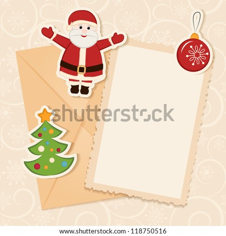 Congratulation gold retro background with Santa claus, Christmas tree, ball and letter. You can use frame for your text or photo - stock vector