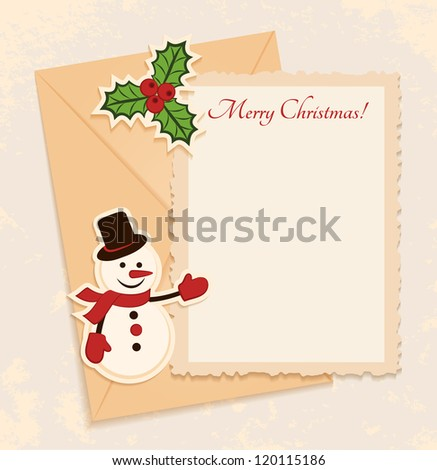 Congratulation gold retro background with snowman, holly and letter. You can use frame for your text or photo - stock vector