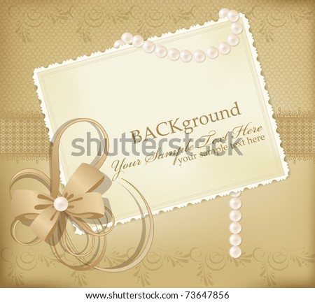 congratulation gold vector retro background with ribbons,pearls,bow - stock vector