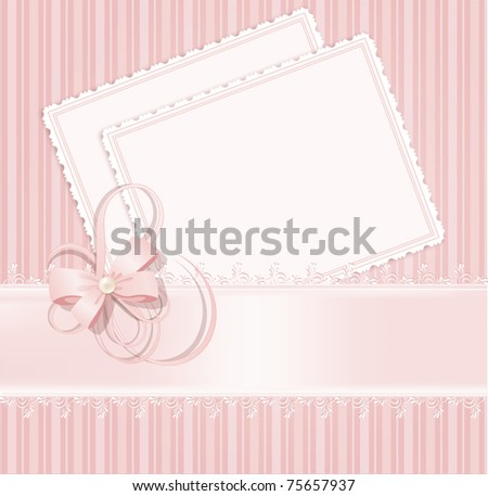 congratulation pink vector background with lace, ribbons, bows - stock vector