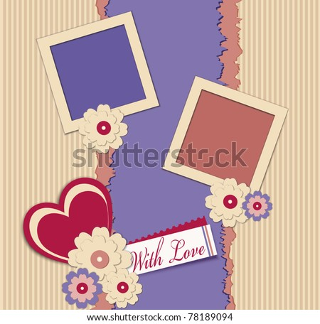 congratulation vector background with two photo frames. hearts and flowers - stock vector