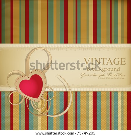 congratulation vector retro background with ribbon, heart on a striped background - stock vector