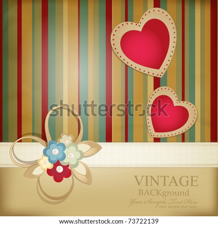 congratulation vector retro background with ribbons, flowers and two hearts on a striped background - stock vector