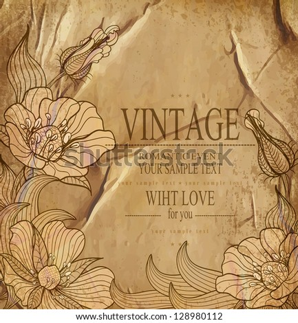 congratulation vintage vector  background with drawing flowers - stock vector