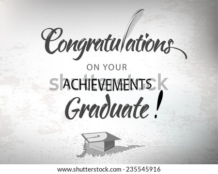 Congratulations achievement text typography Graduate with mortar