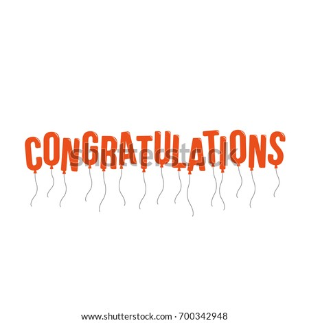 Congratulations Banner Balloon Letters Vector Illustration Flat Design