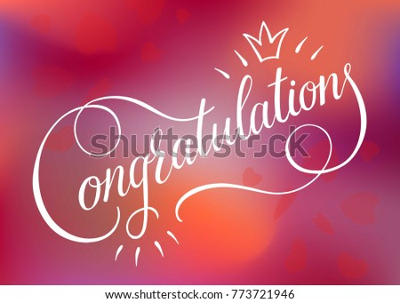 Congratulations card banner poster sign template stock vector congratulations card banner poster sign templated lettering hand drawn calligraphy font vector on blurredred pronofoot35fo Image collections