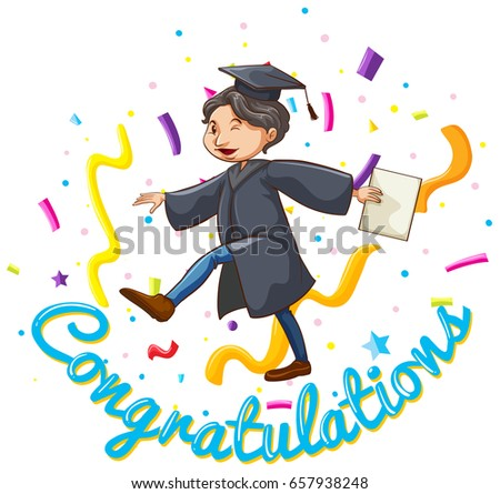 Congratulations Card Template With Man Holding Degree Illustration  Congratulations Card Template