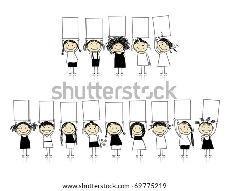 Congratulations from beautiful smiling girls, insert your text here - stock vector