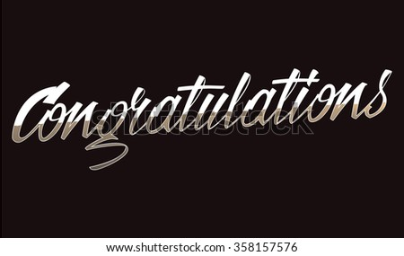 Congratulations Lettering On Black Background Hand Stock