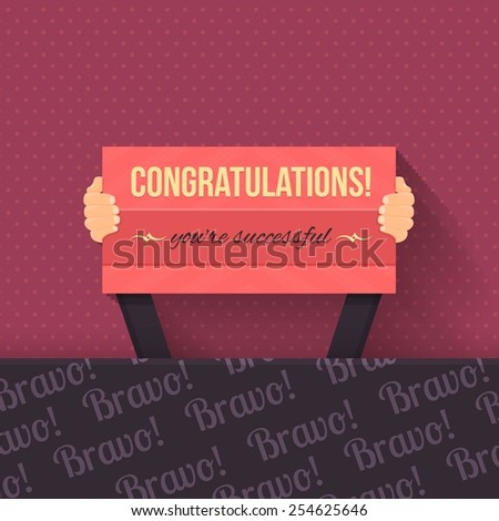 Congratulations Lettering Signboard Hold Hand Flat Vector Design - stock vector