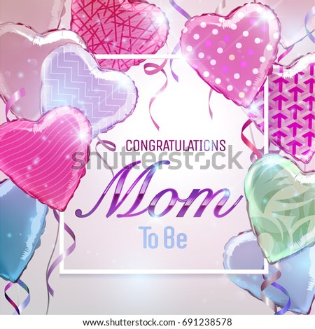 Congratulations Mom To Be Background With Colorful Heart Shaped Foil Balloons Vector IllustrationWallpaper