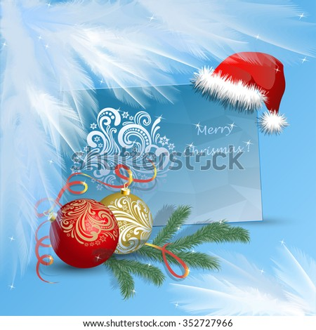 Congratulations on Christmas icicles, with traditional Christmas ornaments and frost on the edges.Vector illustration - stock vector