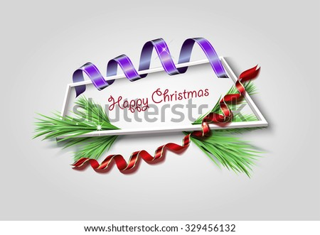Congratulations on Christmas, streamer and spruce framed - stock vector