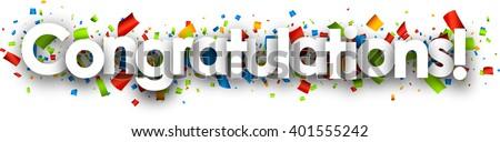 Congratulations paper banner with color confetti. Vector illustration. - stock vector