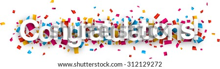 Congratulations paper sign over confetti. Vector holiday illustration.  - stock vector