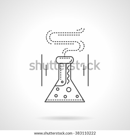 Conical flask with reaction liquid. Laboratory beaker. Science and research. Chemistry and medicine. Vector icon flat thin line style. Element for web design, business, mobile app.  - stock vector