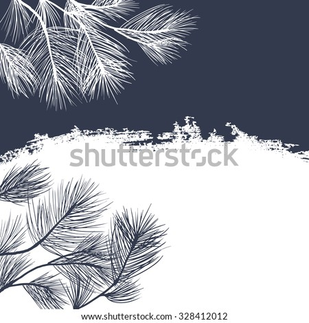 Conifer branches background - stock vector