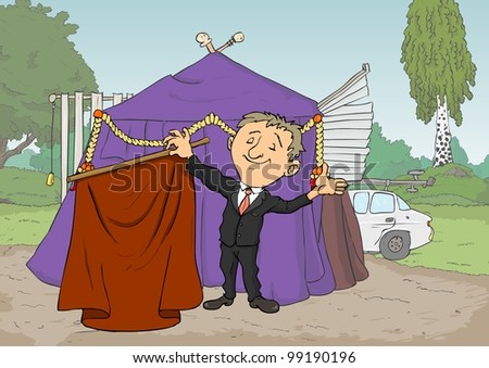 Conjurer smiles and shows red curtains on a stick - stock vector