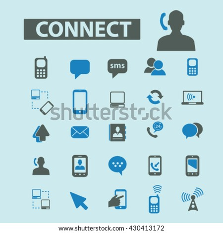 connect icons  - stock vector