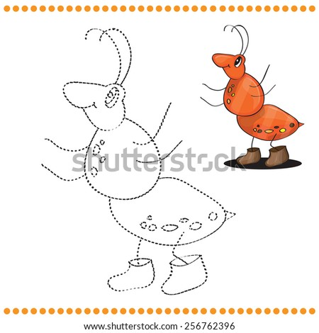 Connect the dots and coloring page - Ant cartoon  - stock vector