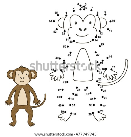 Connect The Dots To Draw Cute Monkey And Color It Educational Numbers Coloring