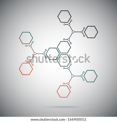 Connect the nine cells. three ternary compounds. gradient red-green. vector graphics - stock vector