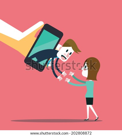 Connect with people on smart phone. Social network abstract illustration. vector - stock vector